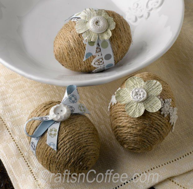 Love these Twine Eggs and sweet decorations. CraftsnCoffee.com.