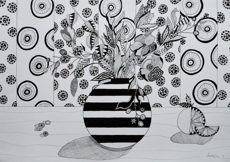 Illustration. Flowers and wallpaper. Af Aastrøm #illustration #stilleben #stillife