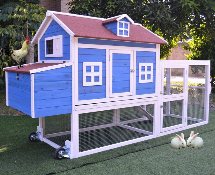 "Mobile 98"" Wood Chicken Coop Backyard Poultry Hen House Feeder Rabbit Hutch Cage  | eBay"