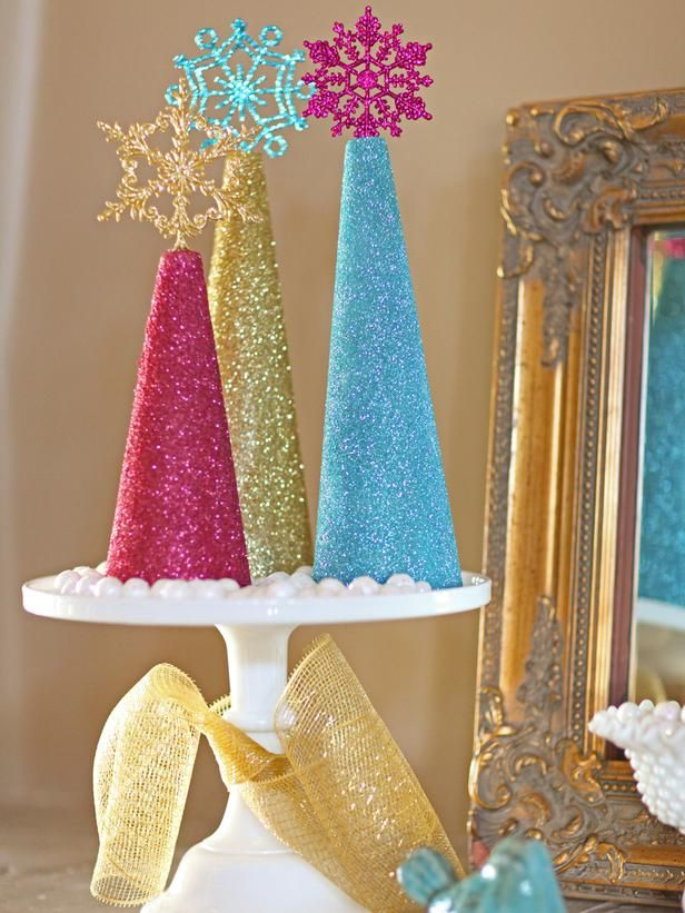 These easy-to-make glitter trees are perfect for a mantel or as a table centerpiece >> http://www.diynetwork.com/decorating/how-to-make-traditional-romantic-christmas-decorations/pictures/index.html?soc=pinterest