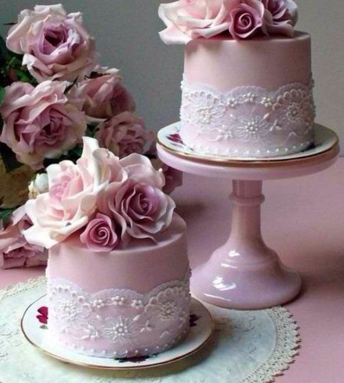 (2) Fancy - Rose mini wedding cakes pembe güllü tekli düğün pastası