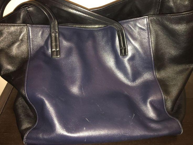 Authentic Prada 2014 Soft Calf Leather Bicolor Black Blue Tote Bag BR5109 $360.0