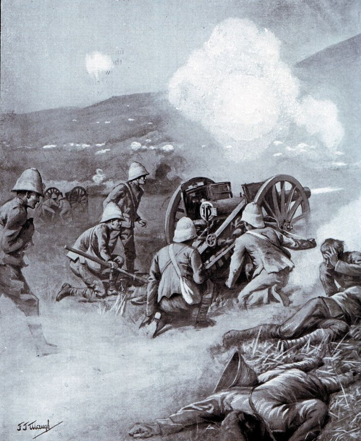 Number 5 gun of 14th Battery in action under Boer fire at the Battle of Colenso on 15th December 1899 during the Boer War