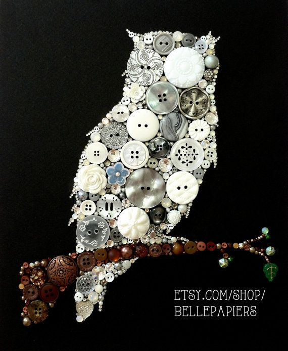 Button Art Button & Swarovski Owl #buttonart #buttons #swarovski #handmade #crafts #diy #art #owlart #owls #chiomega #chio #kappa #kappakappagamma #sororityrush #bidday #pearl #buho #avenocturna