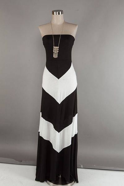 Chevron Maxi Dress | BHaute...would be so cute with a cardigan or jean jacket!