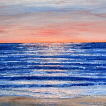 "Escape to the ocean with Dimitri Papgeorgiou's latest painting of the sea, ""SUNSET 2""."