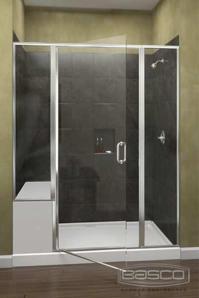 Infinity Frameless Continuous Hinge Inline Panel/Door/Panel featuring Silver Finish and Clear Glass. & 23 best basco images on Pinterest | Custom shower doors Shower ...