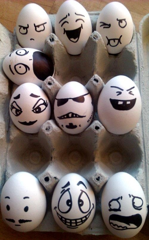 When you're bored, decorate your eggs! This will leave a happy surprise for the next person to use eggs.