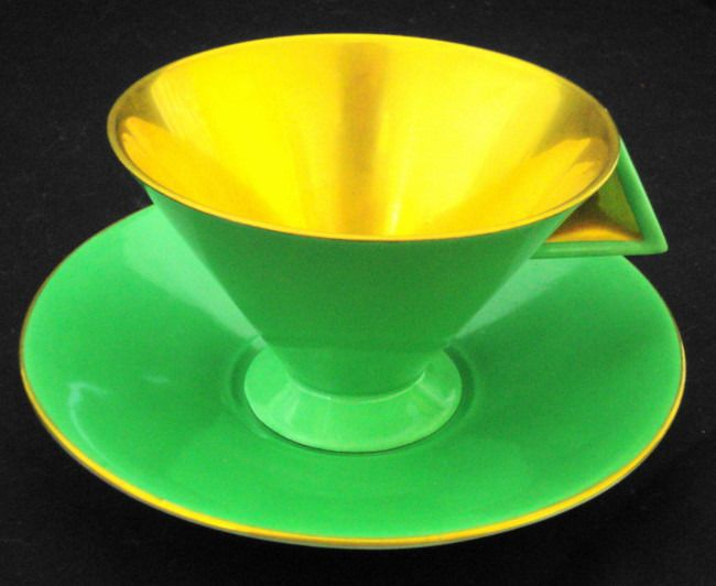 SHELLEY VOGUE GOLD  GREEN ART DECO TEA CUP AND SAUCER #ShelleychinaWilemanTheFoleychinaENGLAND