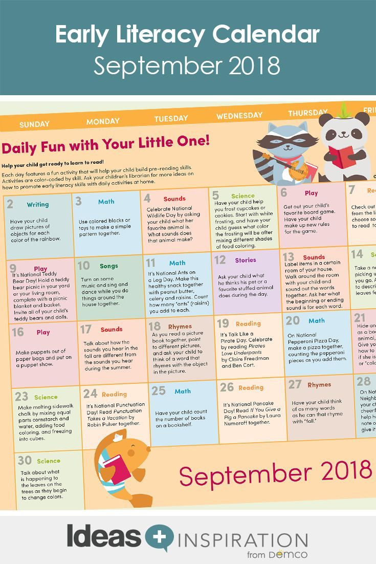 Early Literacy Activity Calendar September 2018 Crafts Books More Literacy Activities Early Literacy Early Literacy Activities Preschool reading activities at home