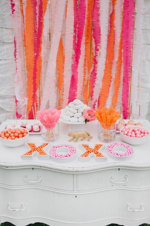 Pink and Orange Dessert Table