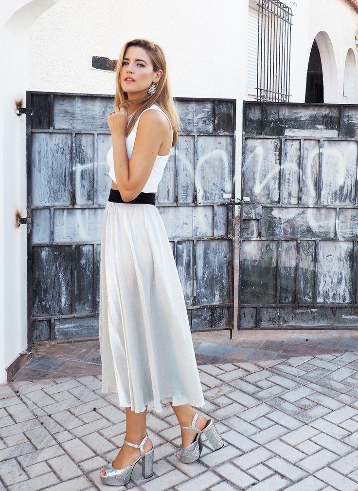 Falda midi metalizada