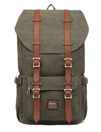 """Kaukko Laptop Outdoor Backpack, Travel Hiking& Camping Rucksack Pack, Casual Large College School Daypack, Shoulder Book Bags Back Fits 15"""" Laptop & Tablets (Canvas Green). For product & price info go to:  https://all4hiking.com/products/kaukko-laptop-outdoor-backpack-travel-hiking-camping-rucksack-pack-casual-large-college-school-daypack-shoulder-book-bags-back-fits-15-laptop-tablets-canvas-green/"""