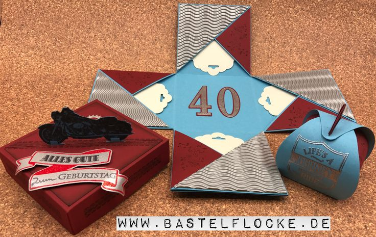 www.bastelflocke.de - On the road again :-) nochmal eine Explosionsbox zum Thema Motorradfahren. Mehr Info's und Bilder dazu, findest Du auf meinem Blog unter www.bastelflocke.de #stampinup #onewildride #explosionsbox #geburtstag #motorrad #reifen #rädchen #memorybox #antiquegearset #banner #bannereien #embossing #allesgute #zumgeburtstag #grüße #kartenkunst #sovielejahre #framelits #großezahlen #gewellteranhänger #zierschachtel