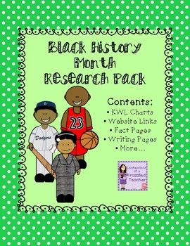 This pack contains all the resources your students need to research and write about 7 Notable African-Americans for Black History Month.Contents Include:* KWL Charts* Fact Pages* Writing Sheets* Websites for Students to Visit* Bonus - Google ActivitiesNotable African-Americans in this Research Pack:* Harriet Tubman* Jackie Robinson* Oprah Winfrey* Michael Jordan* Barack Obama* Thurgood Marshall* Rosa Parks * Blank Pages to Research Someone…