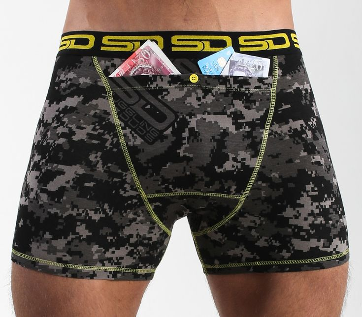 Carbon Digi-cam Smuggling Duds Boxer Briefs has a Carbon Digital Camouflage design and is from The Core Collection that has our new design registered bigger stash pocket to keep more of your valuables safe.