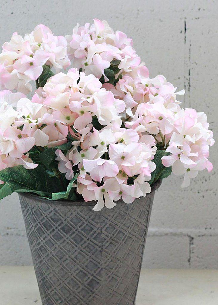 Light Pink Hydrangea Silk Flowers Bush 25 Tall X 3 5 5 Blooms Pink Hydrangea Silk Flowers Wedding Pink Wedding Flowers