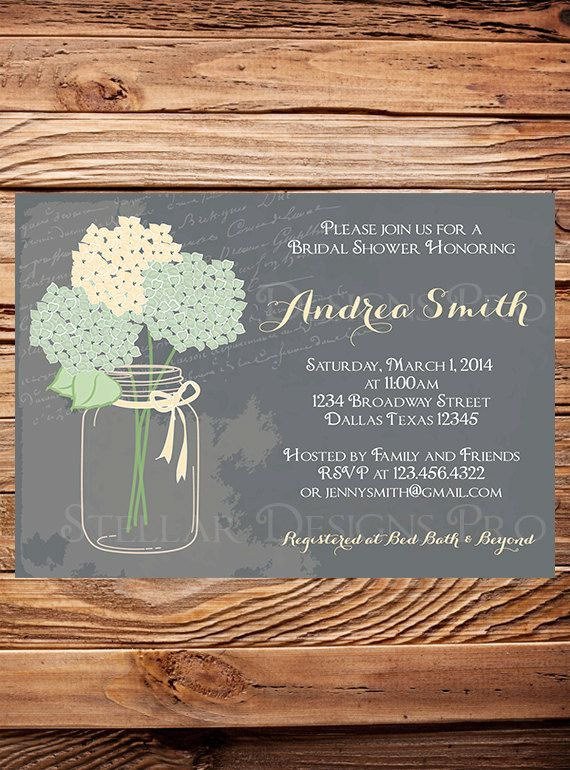 Bridal Shower Invitation, Hydrangea Mason Jar, Gray, Mint, Vintage Mason Jar Invitation, Green, Purple, Mason Jar, Hydrangea, Wedding Shower