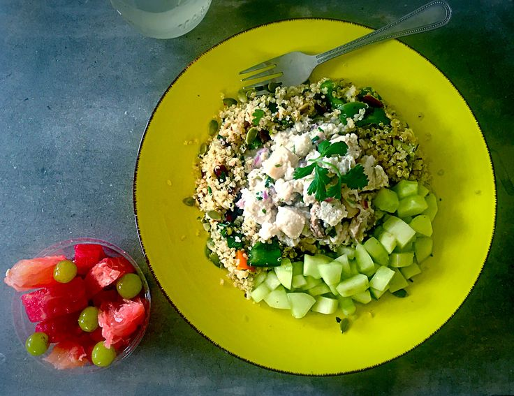 #Mojoi Fishy Friday: #Mojoi's ceviche creation with #LocalFish finished with mushroom. the perfect side dish #QuinoaFriedRice and #Cucumber dices with suprising minty cilantro vinaigrette.  #SnackOn #LemonZestWatermelon cubes #Grapes #Grapefruit Chunks