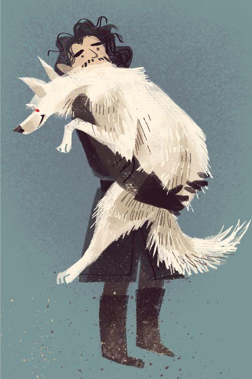 Jon Snow & Ghost by valerie-rustad