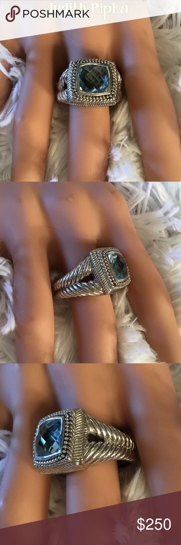 Blue Topaz Beautiful ring by Judith Ripka, blue topaz, cushion cut, with checker board cut...size 10... Judith Ripka Jewelry Rings