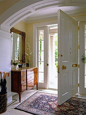 Foyer Designs - Furniture Ideas for Foyers - Good Housekeeping i like the table and mirror just inside the door