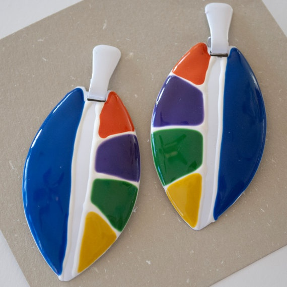 Vintage 80s Fashion Earrings  Bold Colorblock by HyvaaPaivaa, $5.00
