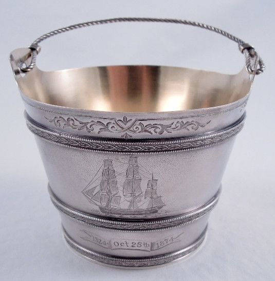 Gorham Sterling Silver Ice Bucket In A Nautical Motif   With A Matte  Acid Etched