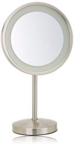 TRENDING PINS- Jerdon HL1015NL 9.5-Inch Tabletop LED Halo Lighted Mirror with 5x Magnification and Built-In Electrical Outlet, 17-Inch Height, Nickel Finish #17Inch #9.5Inch #BuiltIn #Electrical #Finish #Halo #Height #HL1015NL #Jerdon #Lighted #Magnification #Mirror #Nickel #Outlet #Tabletop