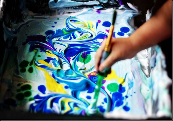 marbling with shaving cream and liquid watercolors