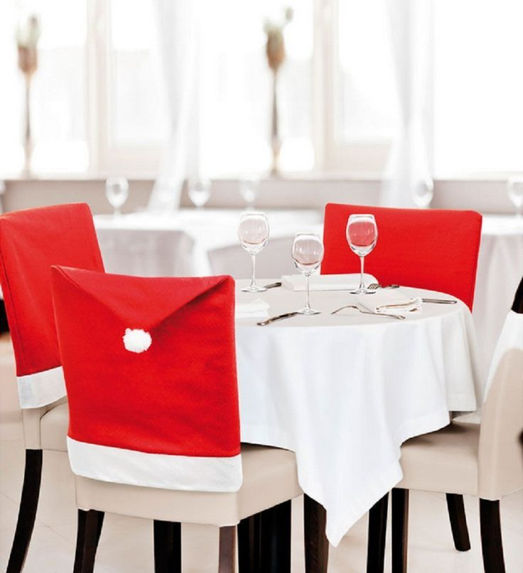 Bit Fly 4pcs Christmas dining Chair Covers Decorations Chair Xmas Cap Sets Santa's Missing Hat individuation red bench and stool cover *** Startling review available here  : Home Decor Wall Pediments