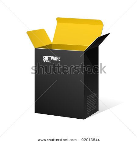 Software Package Box Opened Black Inside Yellow Orange by Denis Semenchenko, via ShutterStock