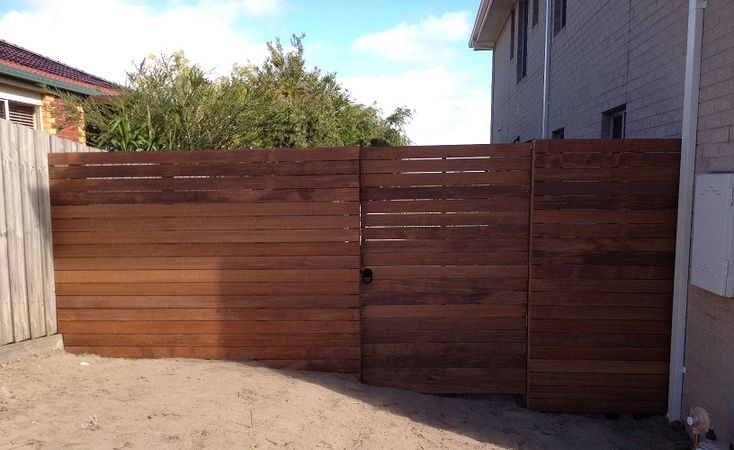 Horizontal merbau single pedestrian steel frame gate with ringlatch and padbolt
