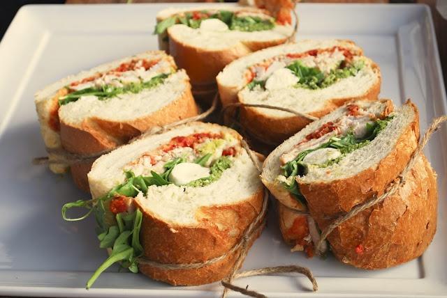 Roasted organic chicken, arugula, pesto, sun dried tomato mayo, and fresh mozzarella