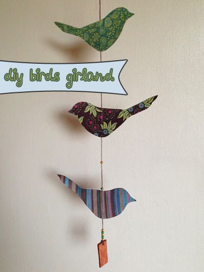 DIY – girlang med fåglar, steg-för-steg-beskrivning på fridasofia.se/blogg | paper birds girland, step by step description