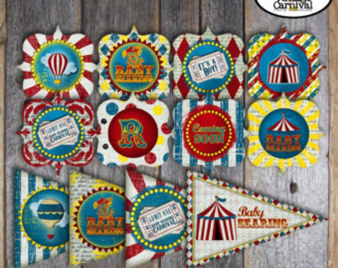 Carnival Shower - Circus Baby Shower - Complete Collection - Toppers, Banner, Favor Tags & More - Customized Printable (Vintage Inspired)