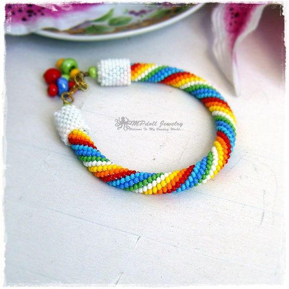 HILARY  Beaded Bracelet Bead Crochet Rope Multicolor White