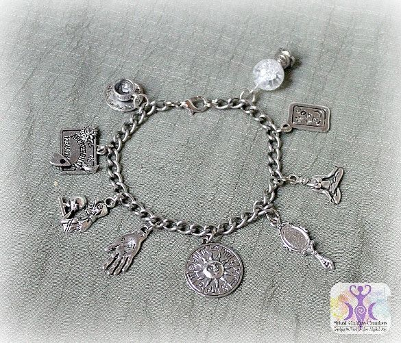 Divination is the practice of seeking knowledge of the future, or answers, through supernatural means. Show off your love of practicing divination with this simple Divination Charm Bracelet from Inked