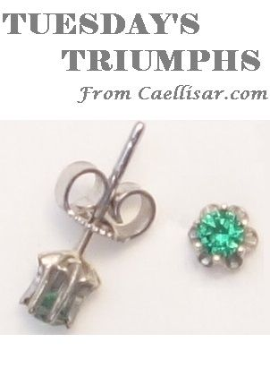 * Our best seller this week are these 14k White Gold Stud Earrings with Green Stones.