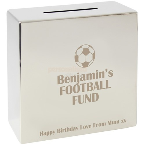 Personalised Football Silver Money Box  from Personalised Gifts Shop - ONLY £19.95