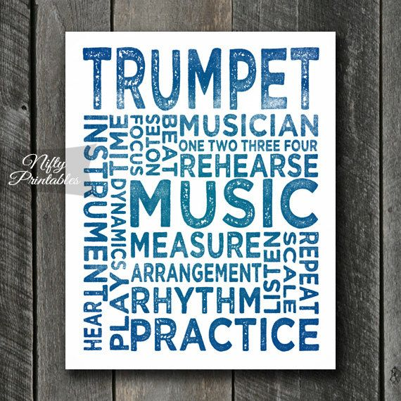 Trumpet Art INSTANT DOWNLOAD Trumpet Print by NiftyPrintables
