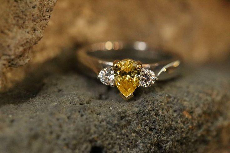 "Fancy vivid yellow diamond ring from our ""Bluestone Wall"" photo shoot! #ExceptionalJewels #BlueStoneWallEdition"