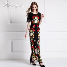 Макси кружева платья с цветами 2016 лето Европейская мода взлетно-посадочной полосы ретро вышивка элегантный бальное платье длинные платья пульс размер XXL(China (Mainland))