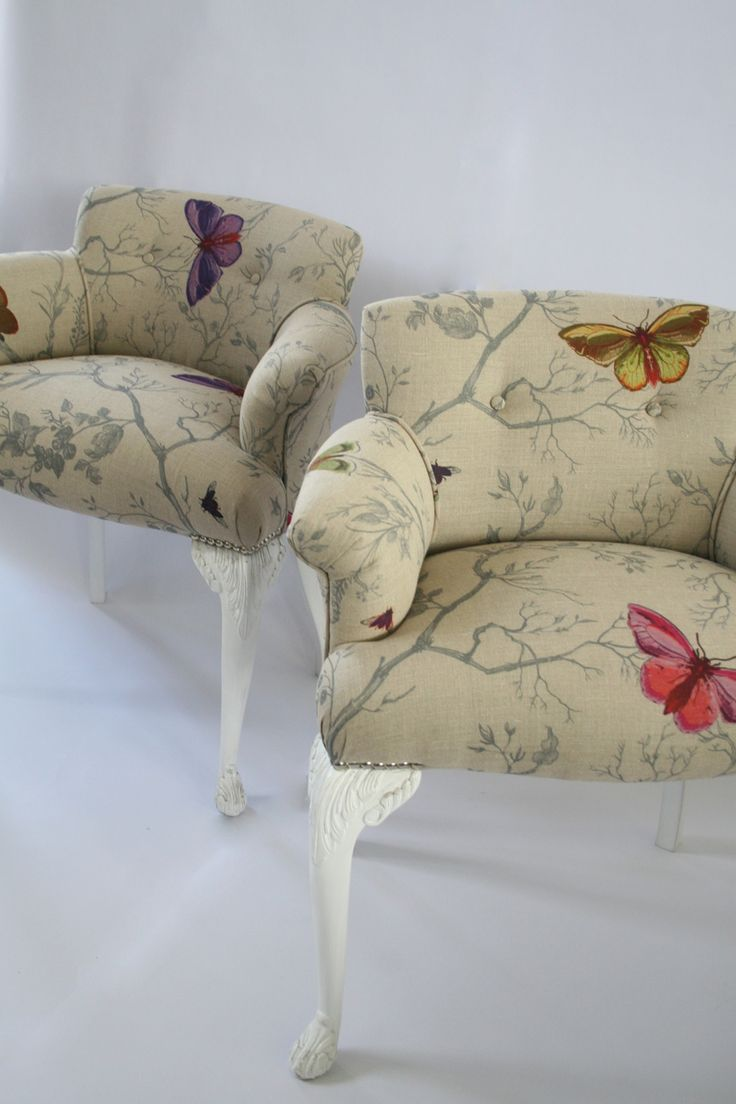 "Antique children's chairs, covered with ""Butterflies"" fabric by Timorous Beasties."