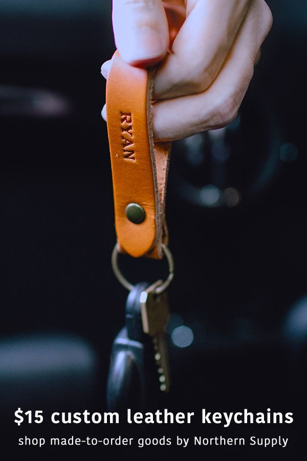 Custom Leather Keychains by Nothwind Supply. Made in USA + ships in 2 days. Personalized with a initials, name, custom monogram or wedding date. A great custom gift idea for family – mom, dad, brother, sister, husband, wife – for a married couple, boyfriend, girlfriend, best friend gift, office coworker gift, wedding gifts for groomsmen, bridesmaid, father of the groom, mother of the groom, mother of the bride, father of the bride, sweet 16 gift, christmas gift or a teacher gift