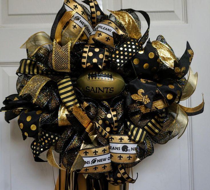 New Orleans Saints Wreath-MINI, Saints Wreath-MINI, New Orleans Wreath-MINI, New Orleans Saints Deco Mesh Wreath by Texascaseyscreations on Etsy