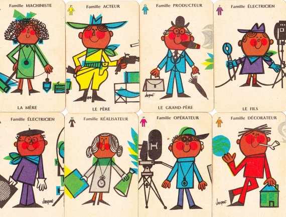 Happy families!!! Set of Vintage 1960s  French Happy Family Cards by Pommedejour, $16.00