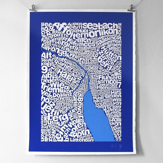 Intricate typographic map of Zürich naming districts and places in respective areas. Lettering is based on Helvetica. Prints are hand-made and screen-printed on archival printmaking paper. Texture, deckle edge and vibrancy of colours convey an air of heritage while the character comes from slight inconsistencies in the ink levels. £125