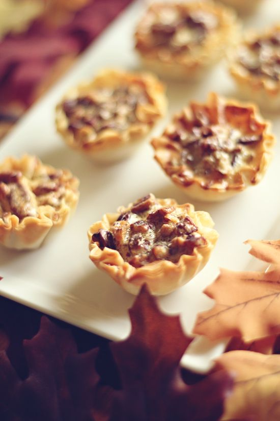 Mini Maple Pecan Pies} My girls like anything mini. Oh my... these ...