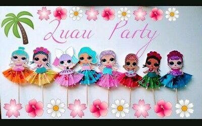 Satz von 12 Luau Party LOL Überraschung Puppen Cupcake Topper, Cupcake Picks, Dekorati …   – LOL
